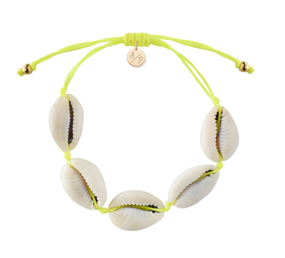 Natural Shell Adjustable Bracelet - Neon Yellow