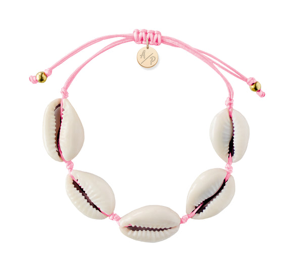 Natural Shell Adjustable Bracelet - Pink