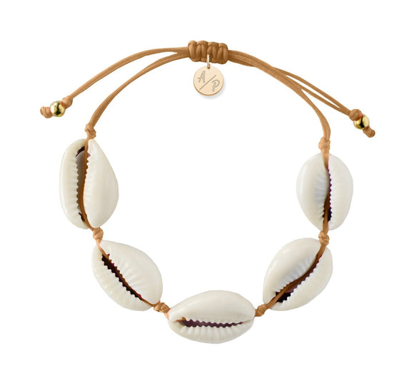 Natural Shell Adjustable Bracelet - Caramel