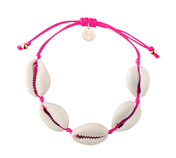 Natural Shell Adjustable Bracelet - Hot Pink