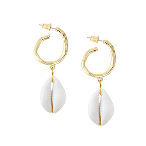 Copy of Chic Metal Shell Hoops - Natural/Gold