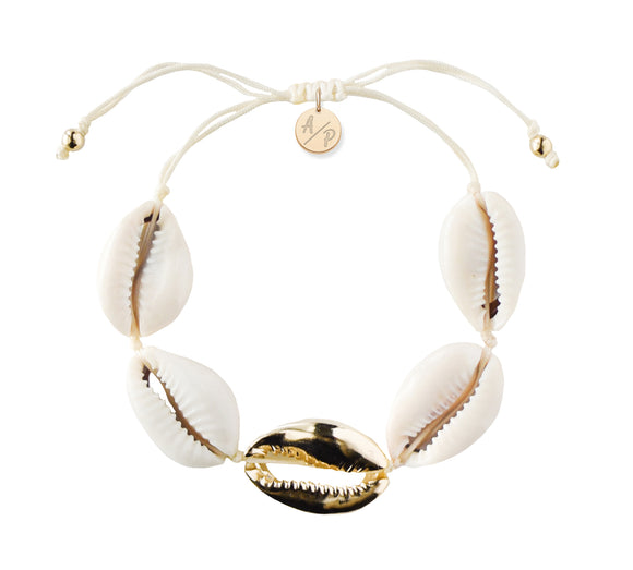 Metal Shell Accent Bracelet - Gold
