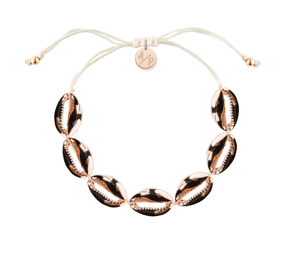 Mini Shells Bracelet - 14k Rose Gold on Ivory