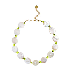 Coin Pearl Choker on Neon Yellow Cord