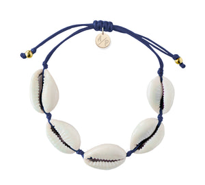 Natural Shell Adjustable Bracelet - Navy