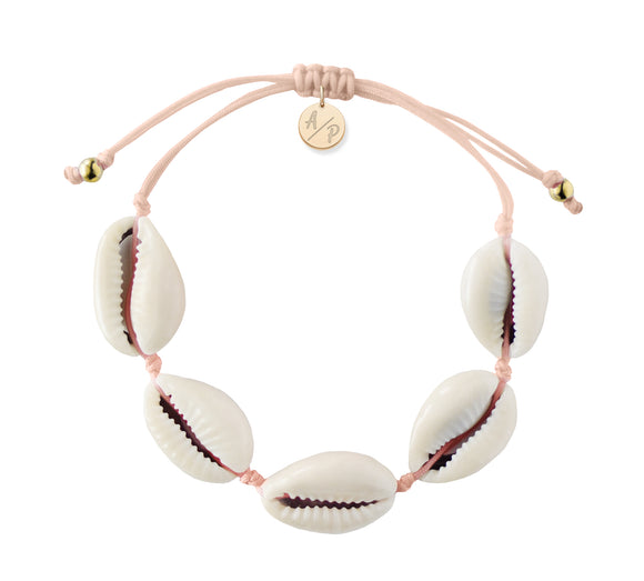Natural Shell Adjustable Bracelet - Light Peach