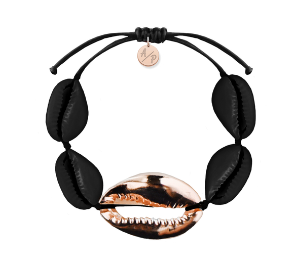 Mega Shell Bracelet - Matte Black/14k Rose Gold