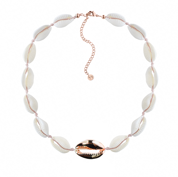 Metal Shell Accent Choker - Rose Gold