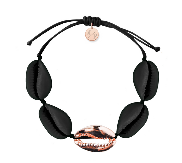 Sleek Shells Bracelet - Matte Black/14k Rose Gold