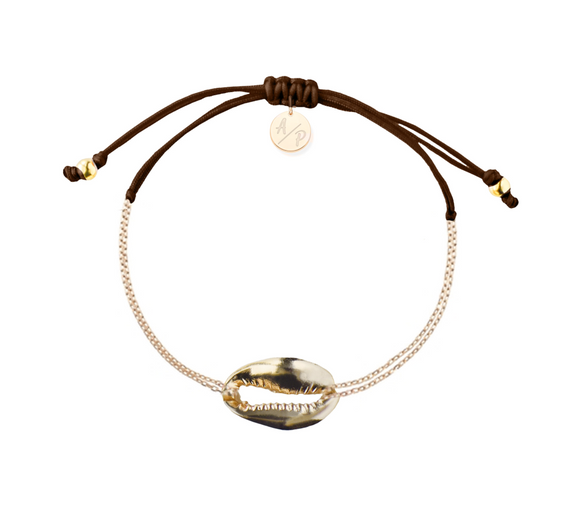 Mini Metal Shell Chain Bracelet - Gold/Brown