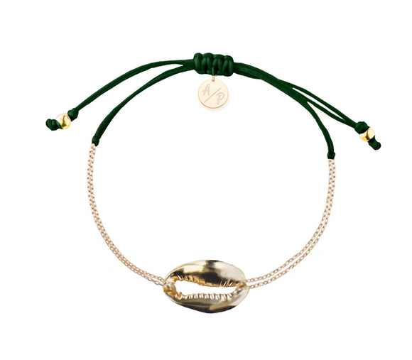 Mini Metal Shell Chain Bracelet - Gold/Forest Green