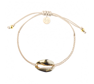 Mini Metal Shell Chain Bracelet - Gold/Ivory