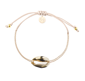 Mini Metal Shell Chain Bracelet - Gold/Light Peach