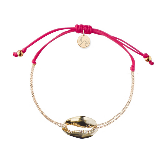 Mini Metal Shell Chain Bracelet - Gold/Magenta