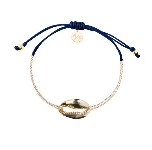 Mini Metal Shell Chain Bracelet - Gold/Navy