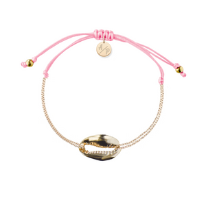 Mini Metal Shell Chain Bracelet - Gold/Pink