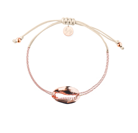 Mini Metal Shell Chain Bracelet - Rose Gold/Ivory