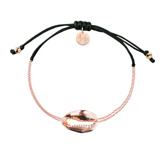 Mini Metal Shell Chain Bracelet - Rose/Black