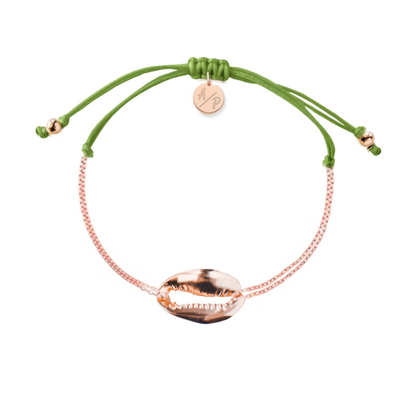 Mini Metal Shell Chain Bracelet - Rose/Soft Green