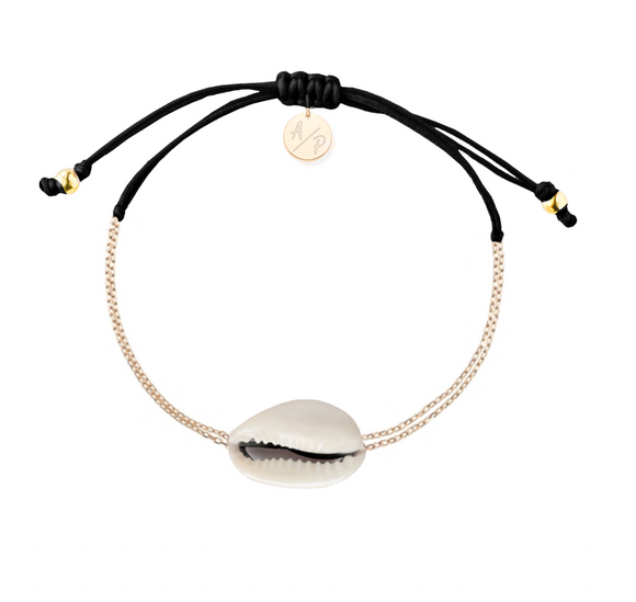 Mini Natural Shell Chain Bracelet - Gold/Black