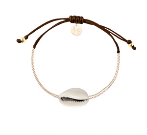 Mini Natural Shell Chain Bracelet - Gold/Brown