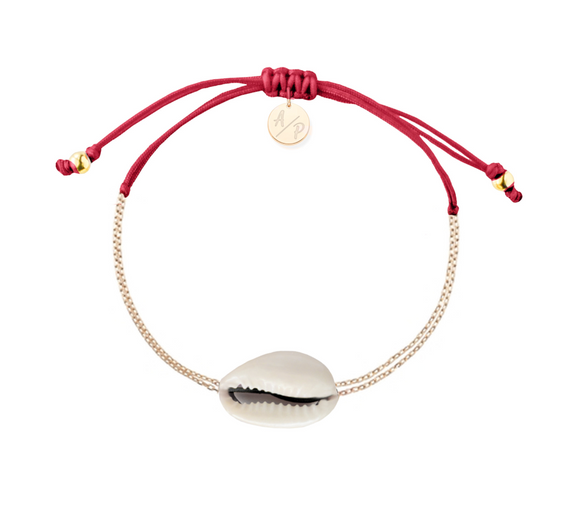 Mini Natural Shell Chain Bracelet - Gold/Cranberry
