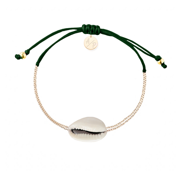 Mini Natural Shell Chain Bracelet - Gold/Forest Green