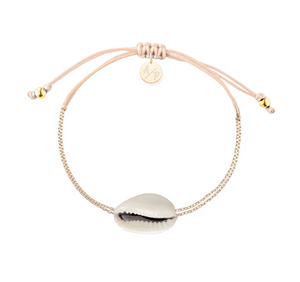 Mini Natural Shell Chain Bracelet - Gold/Light Peach