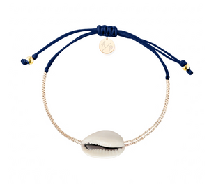 Mini Natural Shell Chain Bracelet - Gold/Navy