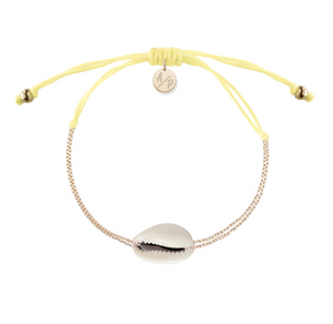 Mini Natural Shell Chain Bracelet - Gold/Pastel Yellow