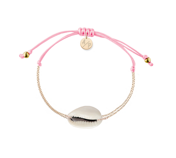 Mini Natural Shell Chain Bracelet - Gold/Pink