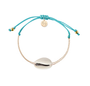 Mini Natural Shell Chain Bracelet - Gold/Turquoise