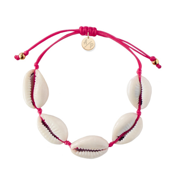 Natural Shell Adjustable Bracelet - Magenta