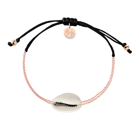 Mini Natural Shell Chain Bracelet - Rose Gold/Black