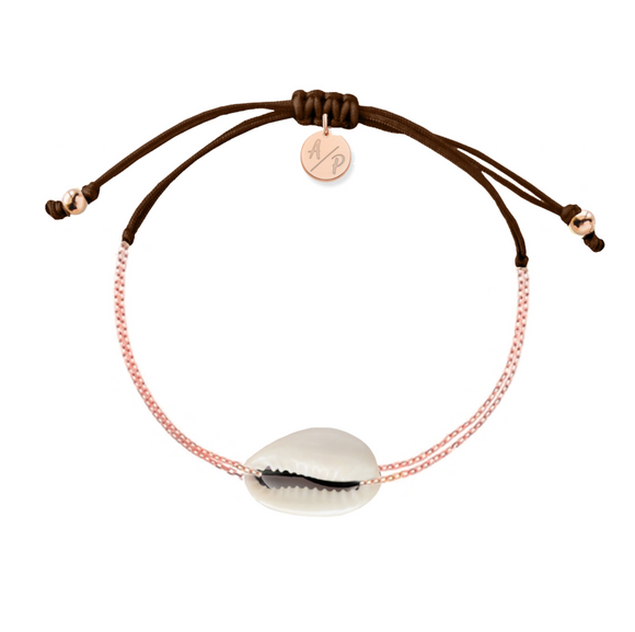 Mini Natural Shell Chain Bracelet - Rose Gold/Brown