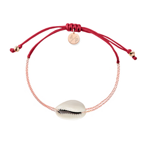 Mini Natural Shell Chain Bracelet - Rose Gold/Cranberry
