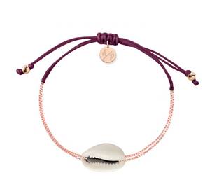 Mini Natural Shell Chain Bracelet - Rose Gold/Merlot