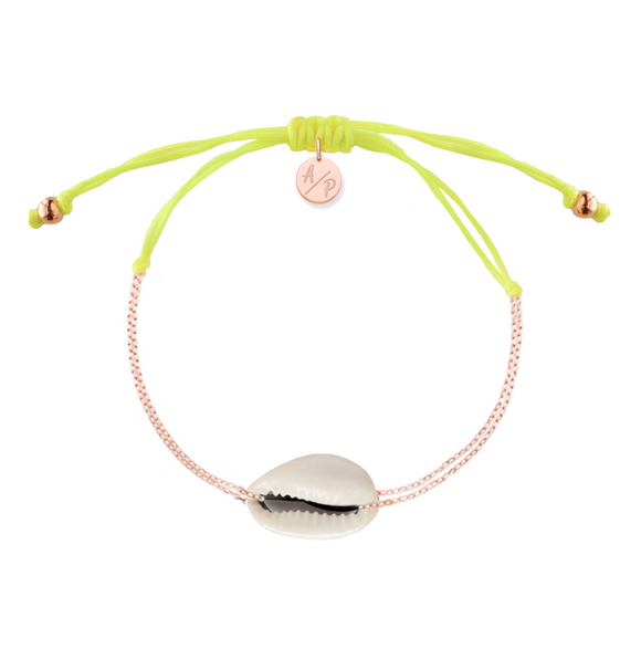 Mini Natural Shell Chain Bracelet - Rose Gold/Neon Yellow