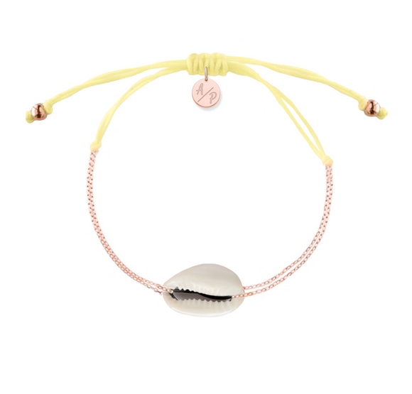 Mini Natural Shell Chain Bracelet - Rose Gold/Pastel Yellow