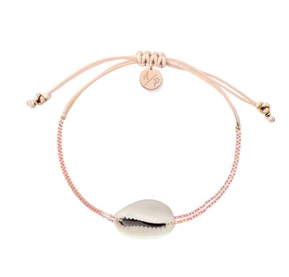 Mini Natural Shell Chain Bracelet - Rose Gold/Peach