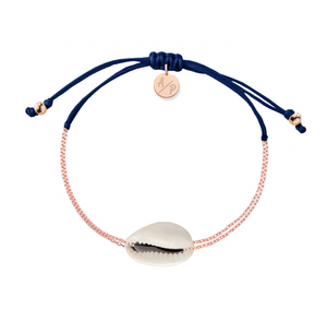 Mini Natural Shell Chain Bracelet - Rose Gold/Navy