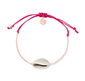 Mini Natural Shell Chain Bracelet - Rose Gold/Magenta