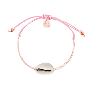 Mini Natural Shell Chain Bracelet - Rose Gold/Pink