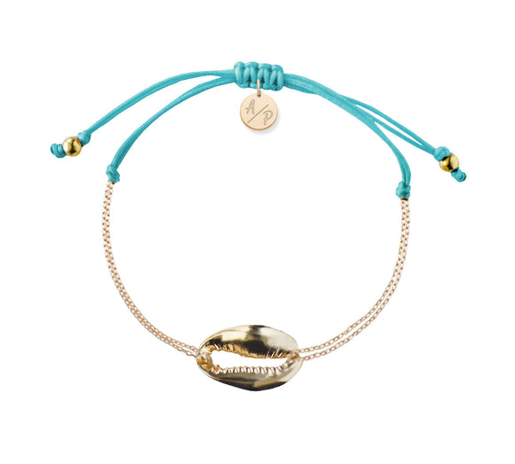 Mini Metal Shell Chain Bracelet - Gold/Turquoise