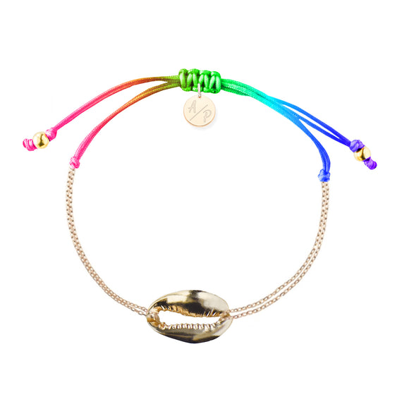 Mini Metal Shell Chain Bracelet - Gold/Rainbow