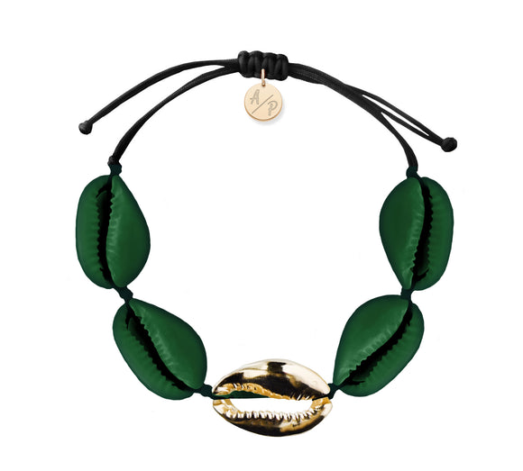 Sleek Shells Bracelet - Matte Green/Gold