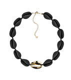 Metal Shell Accent Choker - Matte Black/14k Gold