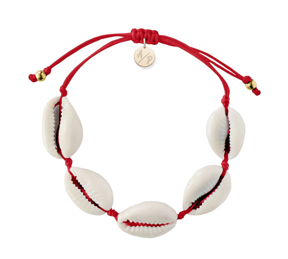 Natural Shell Adjustable Bracelet - Cranberry