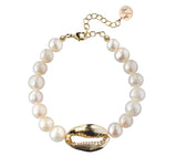 Pearl Bracelet with 14k Gold Plated Shell