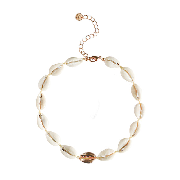 Mini Metal Shell Accent Choker - Rose Gold